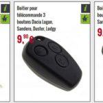plip auto Dacia, bouton, coque, télécommande